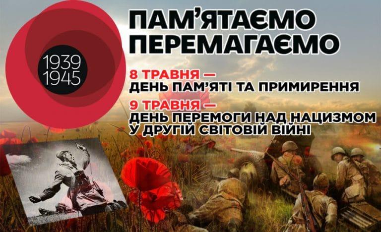 8 травня – День пам'яті та примирення, 9 травня – День перемоги